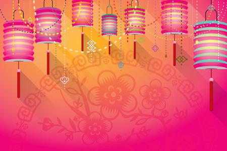 Abstract Chinese papieren lantaarns achtergrond met papier gesneden flora patroon
