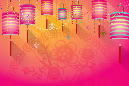 Abstract Chinese paper lanterns background with paper cut flora pattern