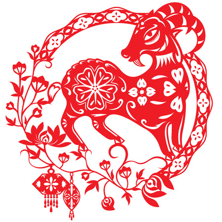macho cabrio: A�o chino de ilustraci�n ovejas paren en el estilo de corte de papel de color rojo