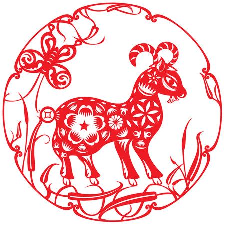 Ilustración ovejas Luck rojo chino en el estilo de corte de papel