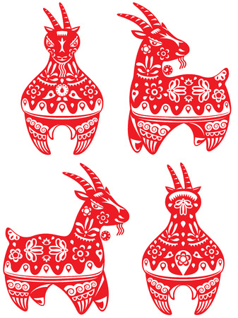 Year of Goat design elements illustration set Vector