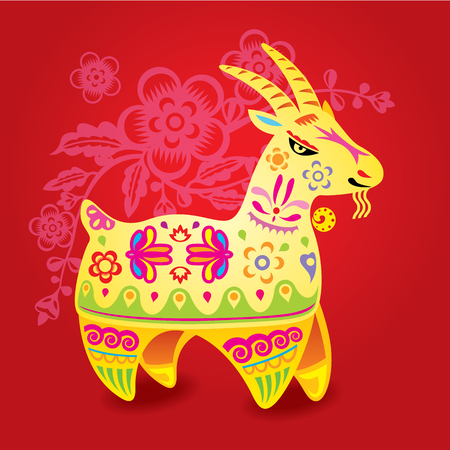 Chinese Color CNY sheep illustration Vector