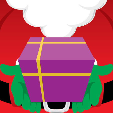 airtight: Close up of Santa Claus holding a wrapped Christmas gift Illustration