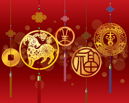 cabra: Año Nuevo chino de fondo ovejas