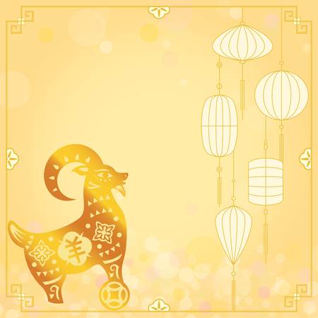 Chinese Gold CNY sheep illustration background on defocused light effect Vector