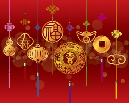 chinese script: Chinese New year decoration background with hanging golden pendant