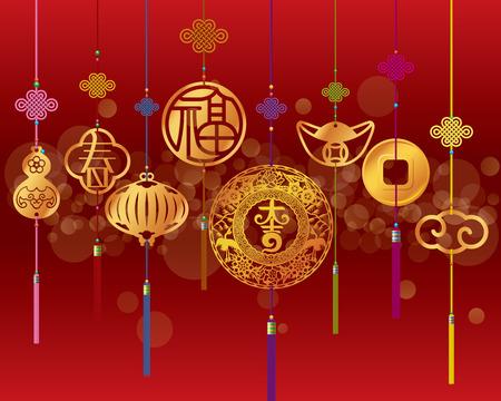 Chinese nieuwe jaar decoratie achtergrond met opknoping gouden hanger