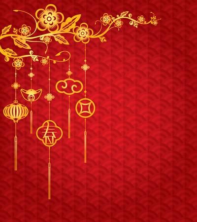 semaforo rosso: Cinese Background Capodanno con decorazione elemento dorata La lettera cinese significa primavera o marca nuova stagione Vettoriali