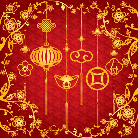 Chinese New Year Background with golden element decoration The Chinese letter means Spring or Brand new season