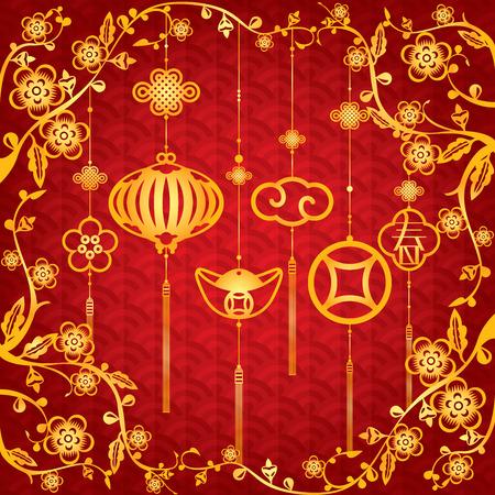 Contexte chinoise Nouvel An avec or élément de décoration La lettre chinois signifie printemps ou Marque nouvelle saison Banque d'images - 34926809