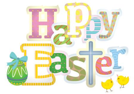 Buona Pasqua tipografica design illustrazione Vettoriali