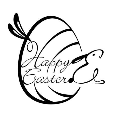 newspaper headline: Happy Easter script Design Element in Black and white Illustration