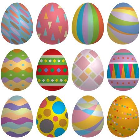 bleached: illustration of colorful Easter egg set