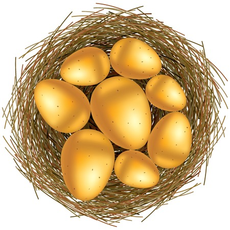 gold eggs: Easter basket with gold eggs on white background Illustration