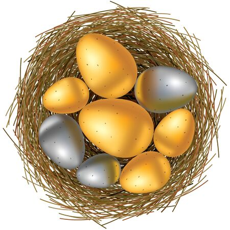 gold eggs: Easter basket with gold and silver eggs on white background