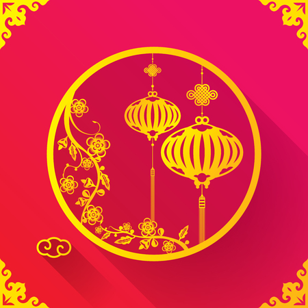 chinese postage stamp: Chinese Lantern design template for celebrating New Year and Mid autumn festival Illustration