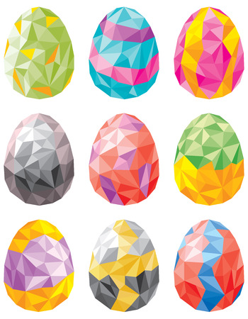 bleached: Vector illustration of colorful Easter egg set in Low poly style
