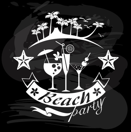 Beach Party, Summer calligraphic designs on blackboard Vector