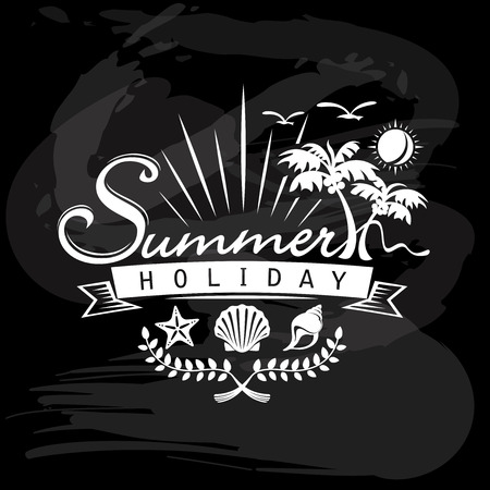 Summer Holiday, Tropical calligraphic designs Vector