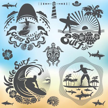 surf: Surfer holiday illustration set, surf elements Illustration