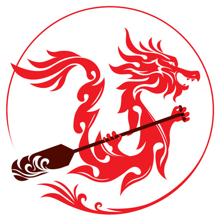 Dragon rowing the paddle graphic design Stock Illustratie