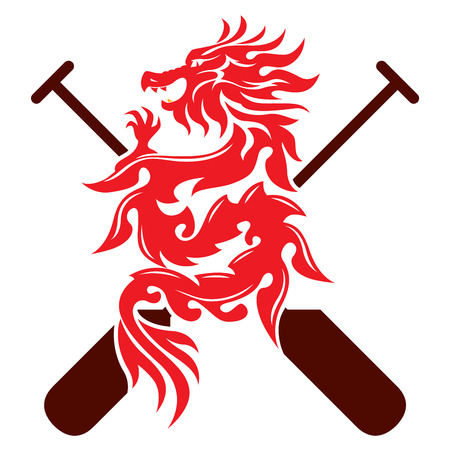 Dragon graphic design with two paddles