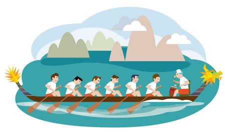 Dragon boat racing illustration Vector
