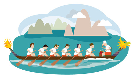 Dragon boat racing illustration Illustration