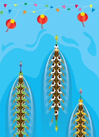 directly above: Top view of Chinese Dragon Boat competition Illustration