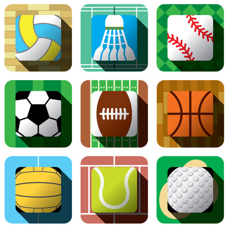 Sport and ball icon design set with related field