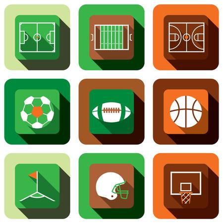 corner kick: Soccer, American football and basket ball icon set