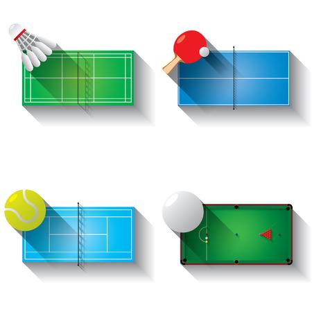 badminton sport symbol: Sport fields illustration icons set with long shadow, badminton, table tennis, tennis an snooker
