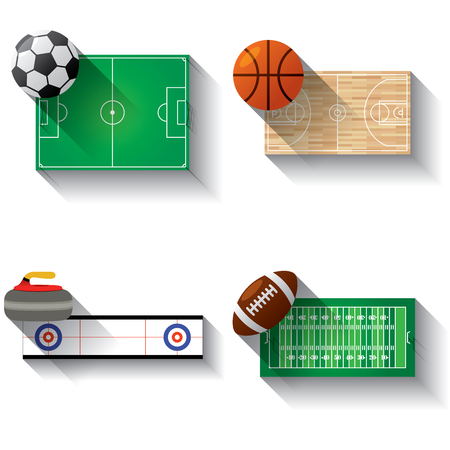 directly above: Sport fields illustration icons set with long shadow Soccer American football basket ball