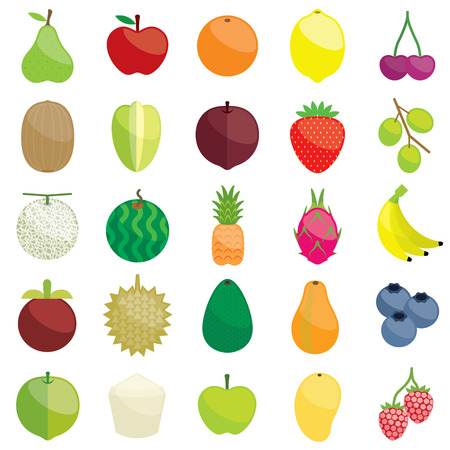 granny smith apple: Fresh fruits illustration collection set Illustration