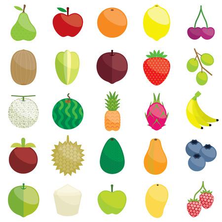 granny smith apple: Fresh fruits illustration collection set Illustration