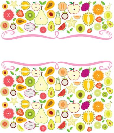 pruning: Fruits background illustration left the blank for designer to fill message