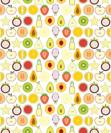 papaya: Half fruits seamless pattern for your design Illustration