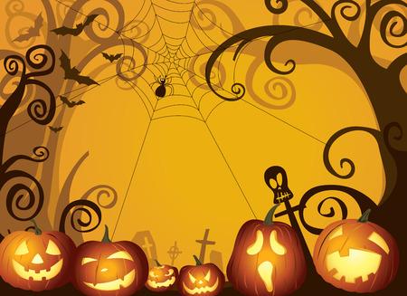 backlit: Halloween Pumpkins Background illustration Illustration