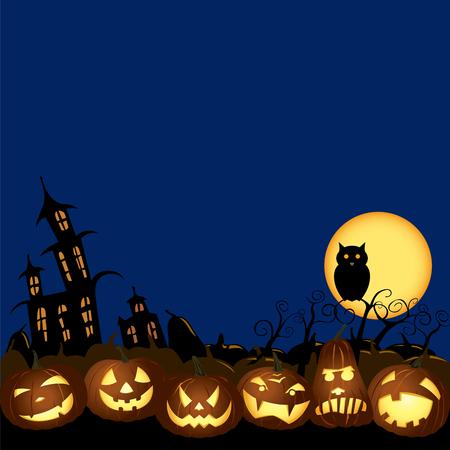 Halloween Jack O lanterns pumpkin night illustration
