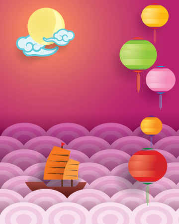 sky lantern: Mid Autumn Festival and ocean view background