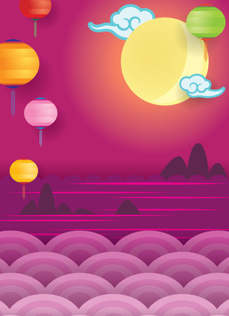 Mid Autumn Festival and ocean view background