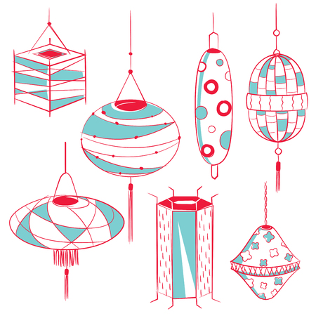 mid autumn: Lantern design set decoration for Mid autumn festival and Chinese New year Illustration