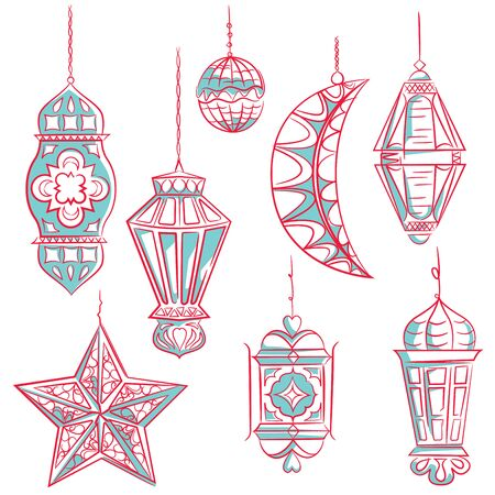 streetlight: Arabic lanterns collection for muslim community holy month Ramadan Kareem