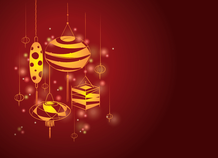 Lantern design set decoration for Mid autumn festival and Chinese New year Illustration