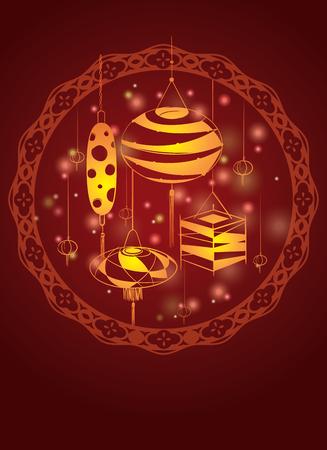 mid autumn: Lantern design set decoration for Mid autumn festival and Chinese New year Illustration