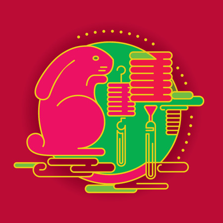 mid autumn: Contemporary Rabbit and lantern graphic design for Mid autumn festival and Chinese New year