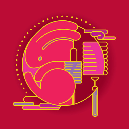 Contemporary Rabbit and lantern graphic design for Mid autumn festival and Chinese New year