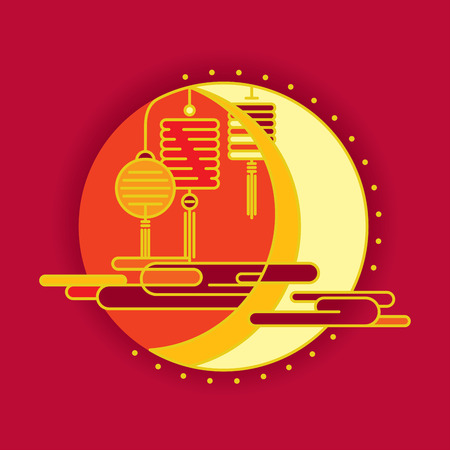 Contemporary moon and lantern graphic design for Mid autumn festival and Chinese New year