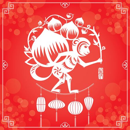 red light: Chinese New Year monkey illustration background on defocused light effect