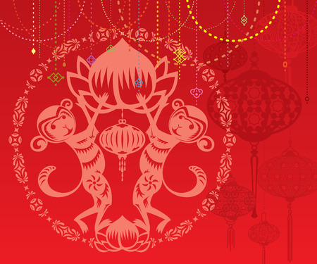 chinese astrology: Double Monkey illustration in Chinese paper cut style, with red lanterns background